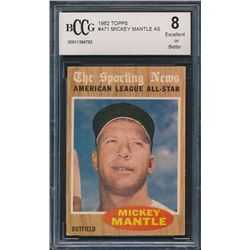 1962 Topps #471 Mickey Mantle All-Star (BCCG 8)