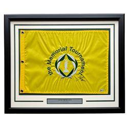 Jack Nicklaus Signed Memorial Tournament 19x23 Custom Framed Golf Flag Display (Beckett LOA)