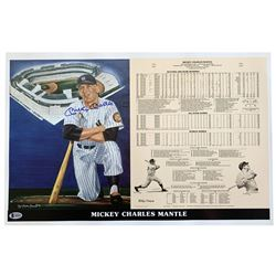 Mickey Mantle Signed LE New York Yankees 14x21 Career Highlight Stat Print (Beckett LOA)