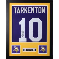 """Fran Tarkenton Signed 24x30 Custom Framed Jersey Inscribed """"HOF 86"""" (JSA COA)"""