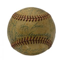 1953 New York Yankees Baseball Team-Signed By (32) With Yogi Berra, Mickey Mantle, Johnny Mize, Whit