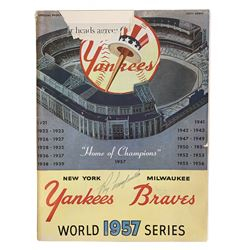 Roy Campanella Signed 1957 World Series Program (Beckett LOA)