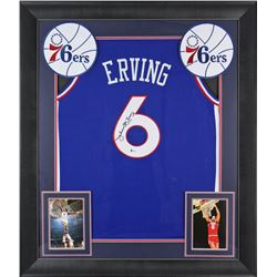 "Julius ""Dr. J"" Erving Signed 32x37 Custom Framed Jersey Display (Beckett COA)"