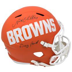 "Nick Chubb Signed Browns Full-Size AMP Alternate Speed Helmet Inscribed ""Dawg Pound"" (JSA COA)"