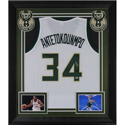 Giannis Antetokounmpo Signed 32x37 Custom Framed Jersey Display (Beckett COA)