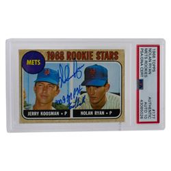 """Nolan Ryan Signed 1968 Topps #177 Rookie Stars RC Inscribed """"100.9 MPH Fastball"""" (PSA Encapsulated)"""