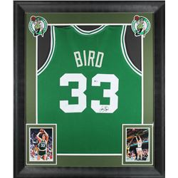 Larry Bird Signed 32x37 Custom Framed Jersey Display (Beckett COA)