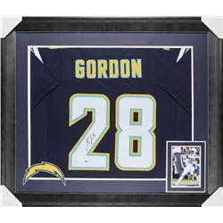 Melvin Gordon Signed 32x37 Custom Framed Jersey Display (Beckett COA)