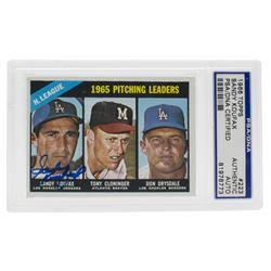 Sandy Koufax Signed 1966 Topps #223 NL Pitching Leaders / Tony Cloninger / Don Drysdale (PSA Encapsu