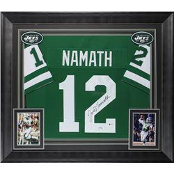 Joe Namath Signed 32x37 Custom Framed Jersey Display (Beckett COA)
