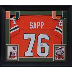 Warren Sapp Signed 32x37 Custom Framed Jersey Display (JSA COA)