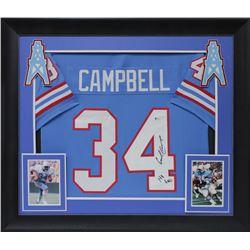 """Earl Campbell Signed 32x37 Custom Framed Jersey Display Inscribed """"HOF 91"""" (Beckett COA)"""