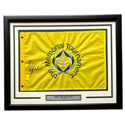 Phil Mickelson Signed The Memorial Tournament 21x27 Custom Framed Pin Flag Display (Beckett COA)