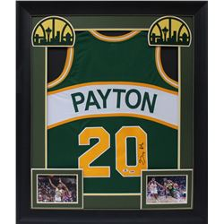 Gary Payton Signed 32x37 Custom Framed Jersey Display (Beckett COA  PSA Hologram)