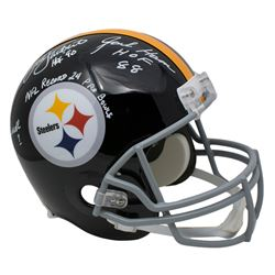 "Jack Lambert, Jack Ham  Andy Russell Signed Pittsburgh Steelers Full-Size Helmet Inscribed ""HOF '90"""