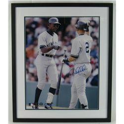 Derek Jeter Signed New York Yankees 21x25 Custom Framed Photo (MLB Hologram)