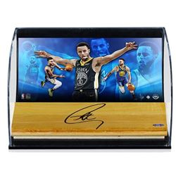 Stephen Curry Signed Golden State Warriors 5x7x11 LE Custom Framed Shadowbox Game-Used Floor Piece D