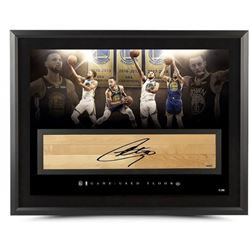 Stephen Curry Signed Golden State Warriors 24x36 LE Custom Framed Game-Used Floor Piece Display (UDA