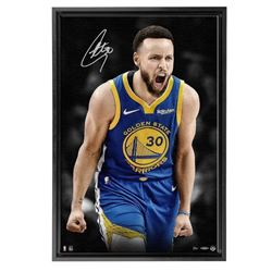 Stephen Curry Signed Golden State Warriors 21x31 Custom Framed LE Photo on Canvas (UDA COA)