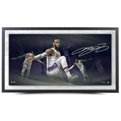 LeBron James Signed Los Angeles Lakers 18x36 Custom Framed LE Photo (UDA COA)