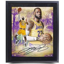 "LeBron James Signed Los Angeles Lakers ""City of Angels"" 20x24 Custom Framed LE Photo (UDA COA)"