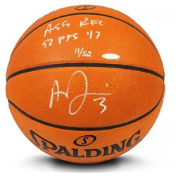 """Anthony Davis Signed LE Official NBA Game Ball Basketball Inscribed """"ASG Rec 52 pts '17"""" (UDA COA)"""