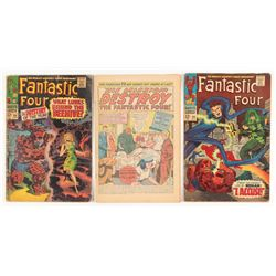 "Lot of (3) 1967 ""Fantastic 4"" 1st Series Marvel Comic Books"