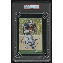 "O.J. Simpson Signed 1994 LE Buffalo Bills Goal Line Art Collection Card Inscribed ""H.O.F 85"" (PSA En"