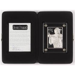1996 Sport Strikes 6 Troy oz .999 Fine Silver LE Mickey Mantle Bullion Baseball Card with Display Ca