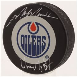 Wayne Gretzky  Mark Messier Signed Edmonton Oilers Logo Puck (UDA COA)