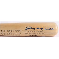 Johnny Mize Signed Louisville Slugger Powerized Career Highlight Stat Player Model Baseball Bat Insc