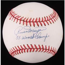 """Russ Meyer Signed ONL Baseball Inscribed """"55 World Champs"""" (Beckett COA)"""