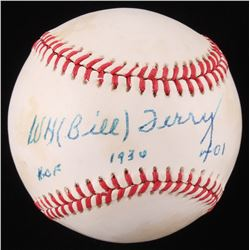 Bill Terry Signed ONL Baseball With Multiple Inscriptions (Beckett COA)