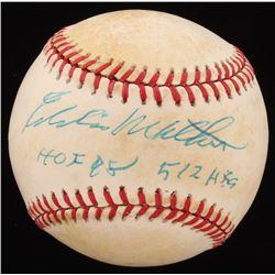 """Eddie Mathews Signed ONL Baseball Inscribed """"HOF 78""""  """"512 HRs"""" (Beckett COA)"""