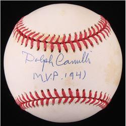 """Dolph Camilli Signed ONL Baseball Inscribed """"M.V.P. 1941"""" (Beckett COA)"""