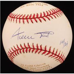 Willie Mays Signed LE Career Highlight Stat ONL Baseball (Beckett COA)