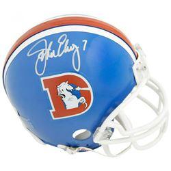 John Elway Signed Denver Broncos Throwback Mini Helmet (Fanatics Hologram)