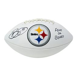 "Brett Keisel Signed Pittsburgh Steelers Logo Football Inscribed ""Fear Da Beard"" (JSA COA)"