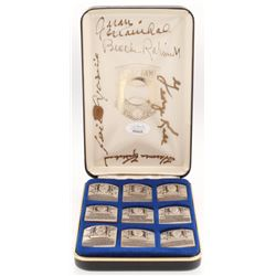 1st Series National Baseball Hall of Fame Gallery Collection Silver Set with Display Case Signed by