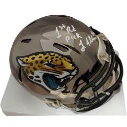 """Josh Allen Signed Jaguars Chrome Speed Mini Helmet Inscribed """"1st Rd Pick"""" (Beckett COA)"""