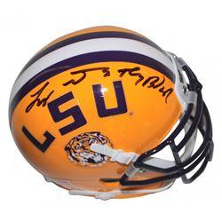 "Tyrann Mathieu Signed LSU Tigers Mini Helmet Inscribed ""Honey Badger"" (Beckett COA)"