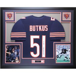 "Dick Butkus Signed 35x43 Custom Framed Jersey Inscribed ""HOF 79"" (JSA COA)"