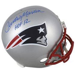 """Curtis Martin Signed New England Patriots Full-Size Helmet Inscribed """"HOF 12"""" (Beckett COA)"""