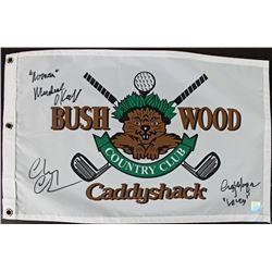"Chevy Chase, Cindy Morgan,  Michael O'Keefe Signed ""Caddyshack"" Bushwood Country Club Pin Flag Inscr"