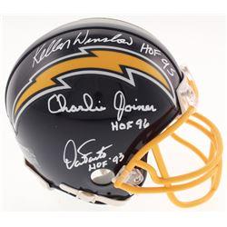 "Kellen Winslow, Charlie Joiner  Dan Fouts Signed San Diego Chargers Mini Helmet Inscribed ""HOF 95,"""