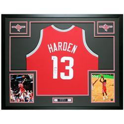 James Harden Signed 35x43 Custom Framed Jersey Display (Beckett COA)