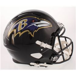 """Ray Lewis Signed Baltimore Ravens Full-Size Authentic On-Field Speed Helmet Inscribed """"HOF 18"""" (Beck"""