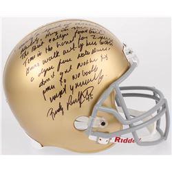 Rudy Ruettiger Signed Notre Dame Fighting Irish Full-Size Helmet with Extensive Inscription (JSA COA