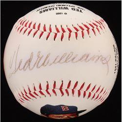 Ted Williams Signed LE Boston Red Sox Logo Career Stats Baseball (Fotoball COA)