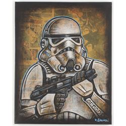 "David Lizanetz Orignal ""Star Wars"" Stormtrooper 16x20 Canvas Inscribed ""Blast Em!"" with 1978 Marvel"